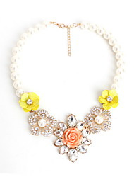 Women's Statement Necklaces Jewelry Flower Jewelry Gemstone Pearl Imitation Diamond AlloyFlower Style Fashion Personalized Euramerican