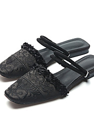 Flats Spring Comfort Silk Casual Flat Heel Satin Flower Black