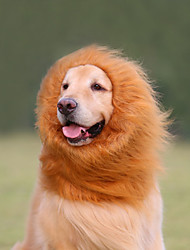 Cat Dog Costume Wig Dog Clothes Summer Spring/Fall Animal Cosplay Lion White Black Light Brown Dark Brown