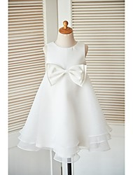 A-line Knee-length Flower Girl Dress - Organza Sleeveless Jewel with Bow(s) Buttons