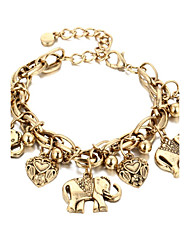 Bracelet ELephant Heart Chain Bracelet Alloy Heart Fashion Halloween Gift Jewelry Gift Gold Silver1pc