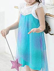 Girl's Solid Dress,Cotton Blend / Mesh All Seasons Blue