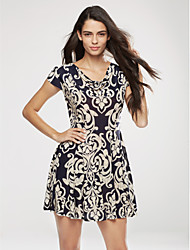 New Arrival Women's Simple / Street chic Print Plus Size / Sheath Dress,Round Neck Above Knee Cotton / Polyester