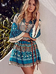 ebay aliexpress europäische und amerikanische Art und Weise V-Ausschnitt binden Hornhülse Kleid Anzug