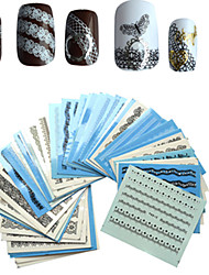1 set 50PCS White/Black Sexy Lace Nail Stickers Nail Art Water Transfer Decals  Manicure Wraps Decor Styling Tools Lace