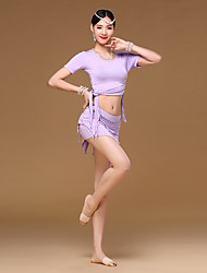 Belly Dance Outfits Women Women's dancewear Girl Training Modal 2 Pieces Short Sleeve Dropped Top Skirt