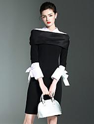 Burdully Formal Simple Bodycon DressSolid Shirt Collar Above Knee Long Sleeve Polyester Nylon Spandex Black Spring Summer Mid Rise Micro-elastic