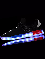 Sneakers Spring Fall Light Up Shoes Comfort PU Outdoor Flat Heel Lace-up Black White Walking