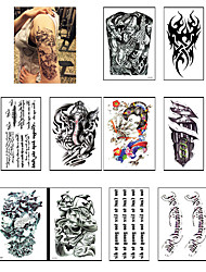 10 Sheets 3D Waterproof Body Art Tattoo Sticker Handsome Tatouage Glitter Black Temporary Flash henna TattoosFor Man Women