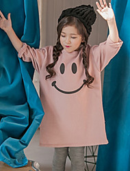 Girl's Solid Dress,Cotton Spring Long Sleeve