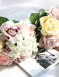 Pearl Pink Artificial Rose Flower Bouquets Silk Eco-friendly Material Wedding Decorations-1Piece/Set Spring Summer Fall Winter Non-personalized