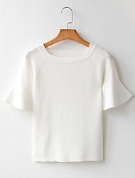 10. März Schiffsmodelle Zeichen Trompetenärmel schlank war dünn Kragen Pullover Kurzarm-Shirt