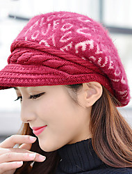 Women 's Winter LOVE Letter Printing Rabbit Hair Pattern Baseball Warm Berets Hat