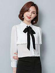 Bow chemise à manches longues femme 2017 printemps nouvelle chemise en mousseline de soie coréenne chemise chemise chemise chemise blanche