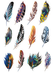 1.3*2.7in Cover scratches stickers Colorful feathers stickers for car (12pcs)01