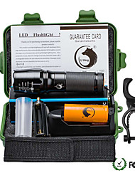 UKing ZQ-X800DB#1-US 2000LM Cree XM-L T6 LED 5Modes Zoomable Flashlight Torch Kits with Battery and Bike Holder