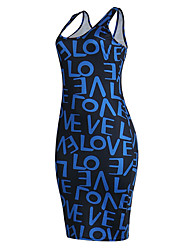 Going out Casual/Daily Sexy Street chic Bodycon Slim H Back DressPrint Letter Racerback U Neck Above Knee Sleeveless Summer Fall Mid Rise