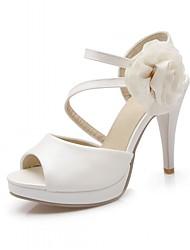 Mujer Zapatos Sintético Semicuero PU Primavera Verano Otoño Confort Innovador Sandalias Paseo Tacón Stiletto Punta abierta Lunares Para