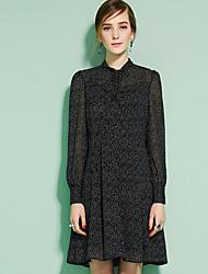 Mujer Línea A Vestido Noche Casual/Diario Bonito Chic de Calle,A Lunares Escote Chino Sobre la rodilla Manga Larga Negro VerdeAlgodón