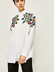Women's Going out Casual/Daily Simple Street chic Spring Fall Shirt,Embroidered Shirt Collar Long Sleeve Cotton Medium
