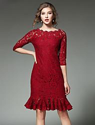 Feminino Bainha Vestido, Para Noite Casual Simples Moda de Rua Sólido Decote Canoa Altura dos Joelhos Manga ¾ Vermelho Preto Algodão