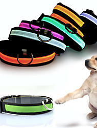 Cat Dog Collar Reflective LED Lights Adjustable/Retractable Strobe/Flashing Safety Solid Rainbow Red White Green Blue Pink Yellow Orange