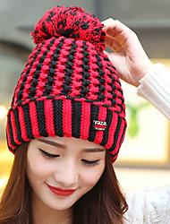 Women Autumn Winter Handmade Crochet Big Hairball Protect Ear Striped Hood Cap