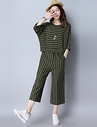 2017 spring and summer fashion leisure suit striped knit short-sleeved T-shirt loose two-piece pant fashion