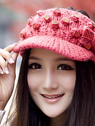 Ladies Solid Color Hand-knit Autumn And Winter Diamond Bow Decorated Empty Top Warm Woolen Hat