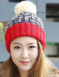 mulheres outono inverno cashmere cor splicing estiramento de malha de lã além de veludo chapéu morno