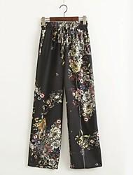 Femme Taille Normale Micro-élastique Chino Pantalon,Ample Imprimé