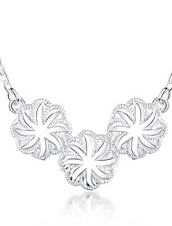 Women's Pendant Necklaces Statement Necklaces Silver Plated Flower Fashion Silver Jewelry Daily 1pc