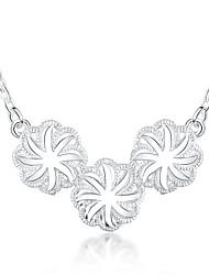 Mujer Collares con colgantes Collares Declaración Plateado Forma de Flor Moda Plata Joyas Diario 1 pieza
