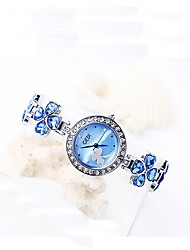 Women's Fashion Watch Quartz Water Resistant / Water Proof Alloy Band Flower Casual Silver LightBlue