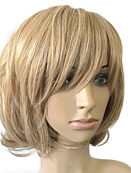 Top Quality Golden Blonde Wig Short Bob Synthetic Wig Curly Wavy Capless Wig