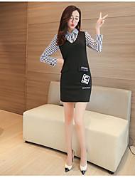 modelo de tiro real na Primavera de 2017 versão coreana do novo slim mulheres foi vestido da listra fina falso de duas vestido