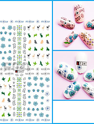 1pcs Nail Art 3D Sticker Beautiful Flower Feather Charming Color Cartoon Design Nail Stickers Manicure Makeup Beauty Nail Art Design F041-049