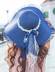 Women's Fashion Vintage Wide Large Brim Floppy Straw Hat Sun Hat Beach Cap Casual Holiday Outdoors Summer