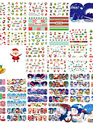 1set 48pcs Mixed Colorful Christmas Nail Art Watermark Sticker Cute&Beautiful Image Design Water Transfer Decals Nail Beauty A1129-1176