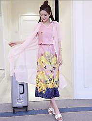 знак 2017 год моды весны девять очков широких ног брюки шифон платье цифровой печатью три частей костюма +