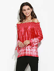 Damen Druck Sexy / Street Schick Lässig/Alltäglich T-shirt,Bateau Frühling / Herbst Langarm Rot Polyester Mittel