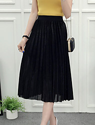 Swing Solid Pleated Skirts,Casual/Daily Mid Rise Midi Elasticity Polyester Micro-elastic Summer