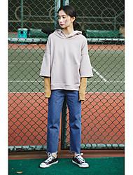 Sign harbor wind Korean Fan wild casual denim high waist wide leg pants collapse irregular edges straight jeans child