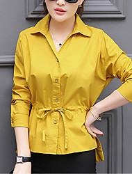 Feminino Camisa Social Para Noite Formal Trabalho Simples Fofo Moda de Rua Primavera Outono,Sólido Branco Laranja Amarelo OutrosColarinho