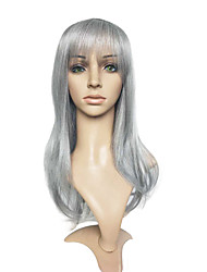 Grey Wig Long Nartural Wavy Synthetic Fiber Wig Cosplay Costume Hairstyle
