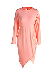 Women's Going out Simple Plus Size / Sheath Dress,Solid Round Neck Asymmetrical Long Sleeve Pink / White