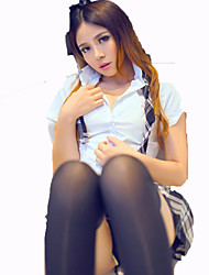 Cosplay Costumes Student/School Uniform Festival/Holiday Halloween Costumes White Black Solid Carnival Female Nylon