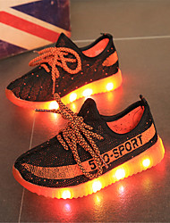 Boy's Sneakers Light Up Shoes Casual Tulle Running Shoes Flat Heel LED Lace-up Blue / Red / Orange