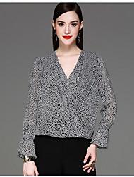 CELINEIA Women's Work Club Boho Street chic Spring Fall BlouseLeopard V Neck Long Sleeve Black Silk Thin