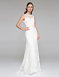 LAN TING BRIDE Sheath / Column Wedding Dress - Chic & Modern Open Back Sweep / Brush Train Jewel Lace Tulle with Appliques Beading